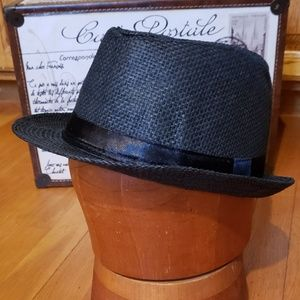 NWT Black Fedora with Stitched Black Satin Hatband